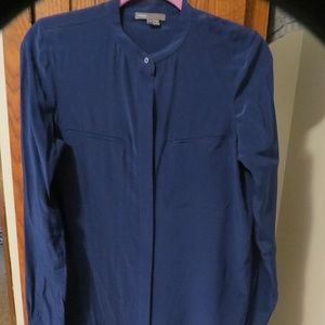 Vince Navy Sheer Blouse Tunic
